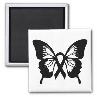 Black Melanoma Cancer Butterfly square magnet
