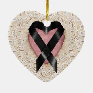 Black Melanoma Ribbon From the Heart - SRF Ceramic Ornament