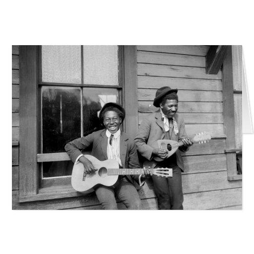 Black Men Playing Guitar, 1902 Greeting Card
