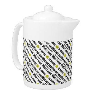 Black Mercy Not Sacrifice Tiled Teapot