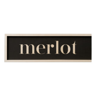 Black Merlot Wine in Modern Text Wooden Keepsake Box