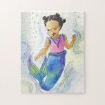 """Black Mermaid Princess Girl puzzle<br><div class=""""desc"""">African American Mermaid princess puzzle,  showing your little princess that not all mermaids have red hair!</div>"""