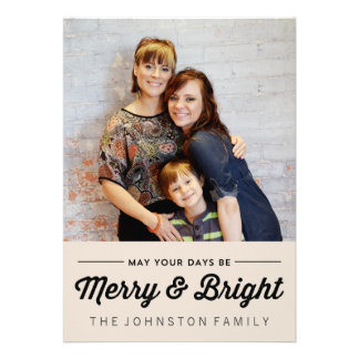 Black Merry Bright Christmas Photo Flat Cards