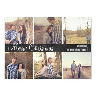Black Merry Christmas Photo Flat Cards