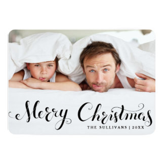 Black Merry Christmas Script Holiday Photo Card Announcements