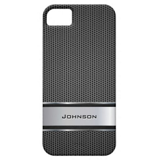 Black Mesh with Silver Metal Leather Label | iPhone 5 Case