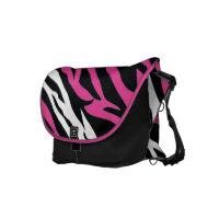 Black Messenger Bag w Pink Zebra Print rickshawmessengerbag