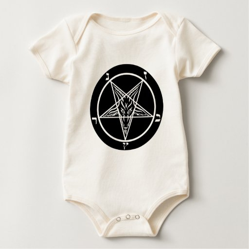 black metal, baphomet, lord of darkness! baby bodysuit