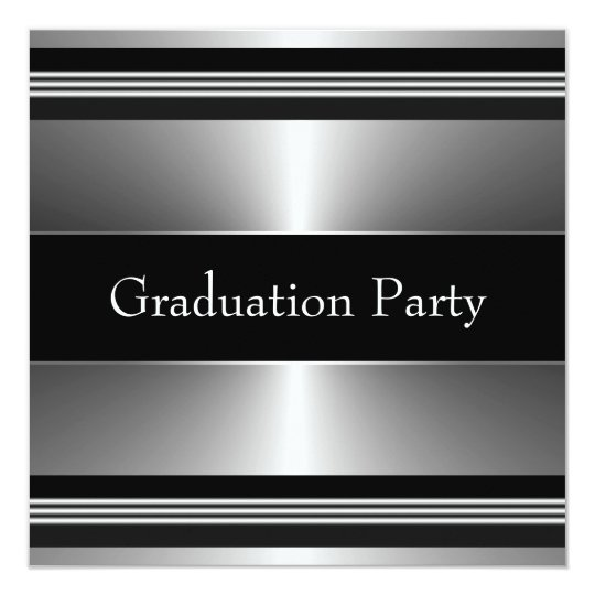 Black Metal Boys Graduation Party Card