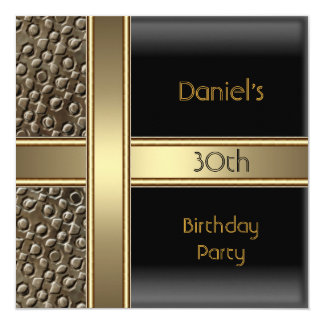 Black Metal  Bronze 30th Birthday Party Mens Card