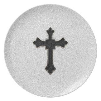 Black Metal Cross Dinner Plate