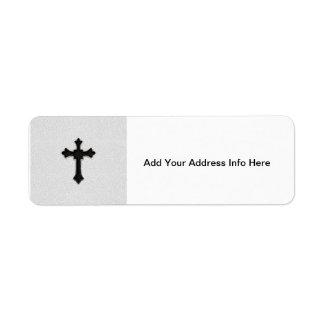 Black Metal Cross Return Address Label