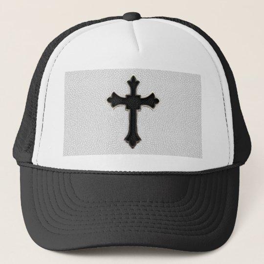 Black Metal Cross Trucker Hat