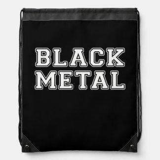 Black Metal Drawstring Bag