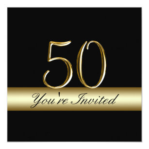 Black and gold 50th birthday invitations zazzle black metal gold print 50th birthday invitations filmwisefo