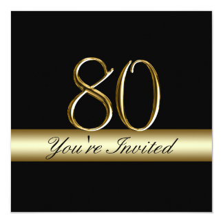 "Black Metal Gold Print 80th Birthday Invitations 5.25"" Square Invitation Card"