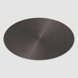 Black Metal Oval Sticker