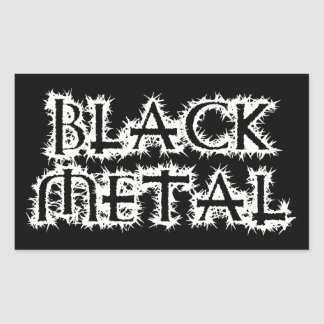 Black Metal Rectangular Sticker