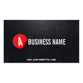 Black Metal Red Label Announcer Business Card