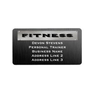 Black Metal Silver Fitness Address Labels