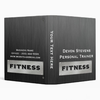 Black Metal Silver Fitness Binder 1""