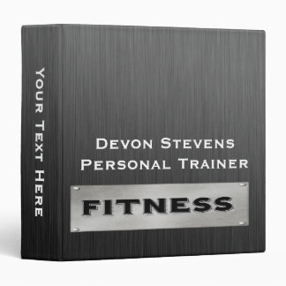 Black Metal Silver Fitness Binder 1.5""