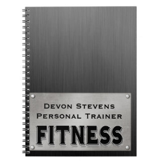 Black Metal Silver Fitness Spiral Notebook