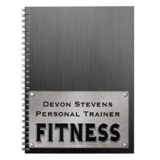 Black Metal Silver Fitness Spiral Notebook