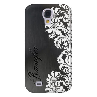 Black Metallic Background & White Floral Lace Samsung Galaxy S4 Cover