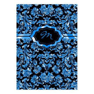 Black & Metallic Blue Floral Damasks Monogramed Business Cards