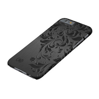 Black Metallic Brushed Aluminum & Black Lace Barely There iPhone 6 Case