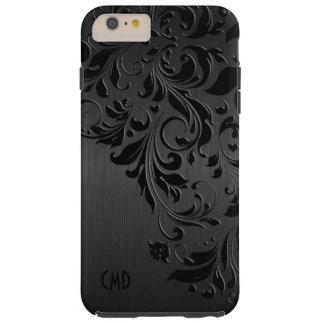 Black Metallic Brushed Aluminum & Black Lace Tough iPhone 6 Plus Case