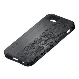 Black Metallic Brushed Aluminum & Black Lace iPhone SE/5/5s Case