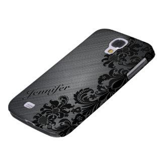Black Metallic Brushed Aluminum & Floral Damasks 2 Samsung Galaxy S4 Cover