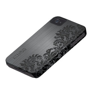 Black Metallic Brushed Aluminum & Floral Damasks Case-Mate iPhone 4 Case