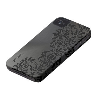 Black Metallic Brushed Aluminum & Floral Damasks iPhone 4 Case-Mate Case