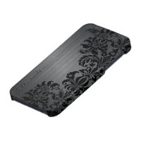 Black Metallic Brushed Aluminum & Floral Damasks iPhone 5 Cover