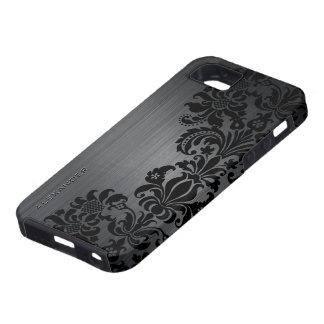Black Metallic Brushed Aluminum & Floral Damasks iPhone SE/5/5s Case