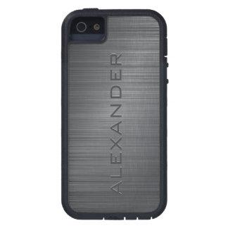 Black Metallic Brushed Aluminum Look 3-Monogram Case For iPhone SE/5/5s