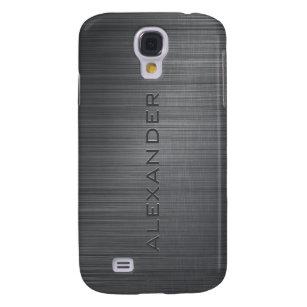 Black Metallic Brushed Aluminum Look 3-Monogram Samsung S4 Case