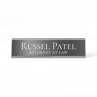 Black Metallic Contrast Lawyer Attorney Desk Name Plate