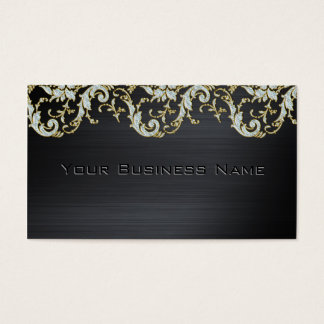 Black Metallic Diamond Damask Elegant Corporate Business Card