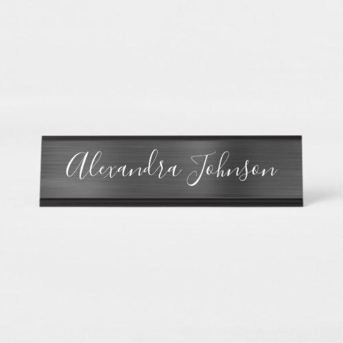 Black Metallic Foil Modern Elegant Business Desk Name Plate