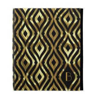 Black & Metallic Gold 2 Geometric Pattern Monogram iPad Folio Cover