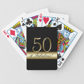 Black Metallic Gold 50th Birthday Bicycle Playing Cards