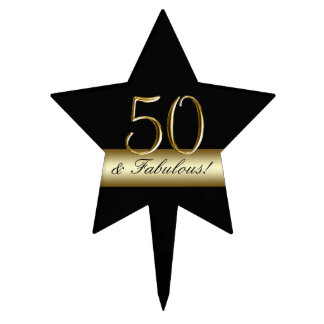 Black Metallic Gold 50th Birthday Cake Topper