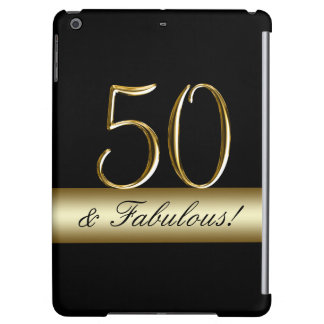 Black Metallic Gold 50th Birthday iPad Air Covers
