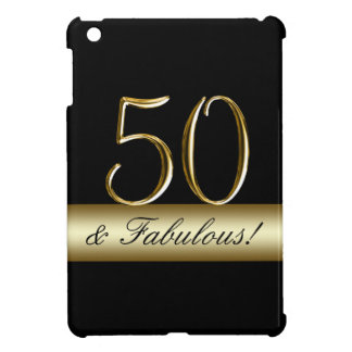 Black Metallic Gold 50th Birthday iPad Mini Cases