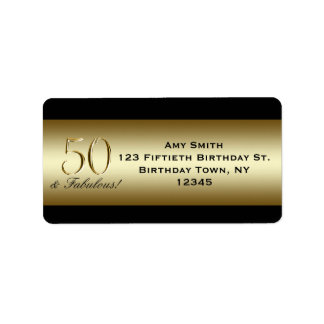 Black Metallic Gold 50th Birthday Label