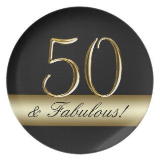Black Metallic Gold 50th Birthday Party Plates